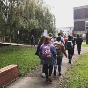 Pupils walking to Chester International School